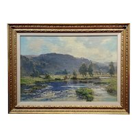 Bertram Pressman -English Countryside in a River Landscape -Oil painting 1918