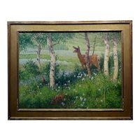 Ralph Oberg -Mama Deer & her Fawn looking over a Spring Landscape-Oil painting