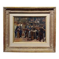 Philharmonic Orchestra - Expressionist Oil painting -c1950s