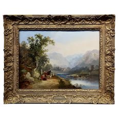 James Duffield Harding -19th century North Wales Landscape - Oil painting