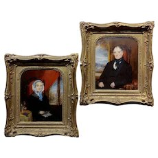 19th century Husband & Wife Pair of English Portraits -Oil painting