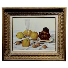 Daniel Girard - Still Life of Walnuts & Apples -Oil painting
