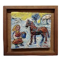 David Burliuk - Little Girl offering water to her Horse- Oil painting