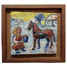 David Burliuk - Little Girl offering water to her Horse- Oil painting