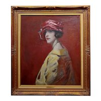 c1910s Study Portrait of a Woman in a Red Hat -Oil painting Possibly William Merritt Chase