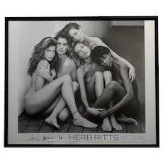 Herb Ritts -1989 Iconic Nude Supermodels-Original hand signed Poster-Rare