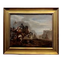 19th century French Battle Scene - Oil painting c.1840s