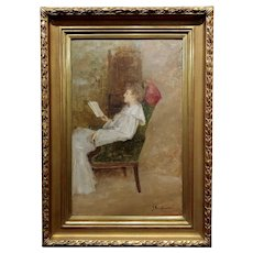 John Bond Francisco -Portrait of a Lady Reading a Book -Oil painting c.1900s