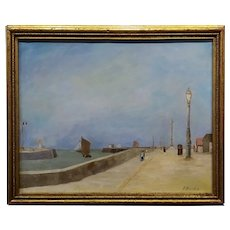 In the manner of Eugene Boudin -South of France by the Waterfront-Oil painting c1890s
