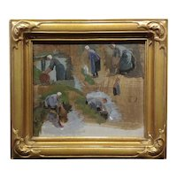 Colin Campbell Cooper -Study of Peasant Working Women -Oil painting