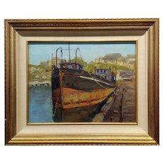 Ferdinand Kaufmann -Boat docked in the San Pedro Harbor-Oil painting-c1920s