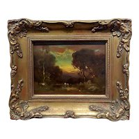 William Keith -Cows at a watering Hole in a Barbizon Landscape -19th century Oil painting