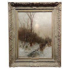 Desiree Thomassin -Hunters in a Winter Wooded Landscape -19th century Oil painting