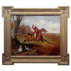 Alfred Wheeler -Horse Rider in Red Coat Whipping his Dog during Fox Hunting-Oil painting c1880s