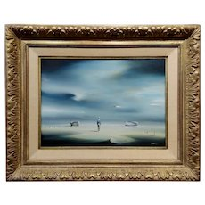 Robert Watson -Fisherman and Boats in a Surrealist Seascape - Oil painting