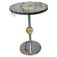 Modern Art deco Chrome & Glass round Cocktail Stand