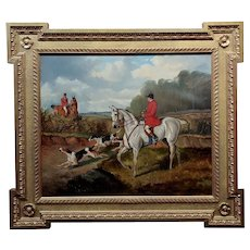 Alfred Wheeler -Dog on the Scent during Fox Hunting-Oil painting c1880s