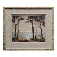 Evylena Nunn Miller -Beautiful California Coast line-1930s Impressionist Oil painting