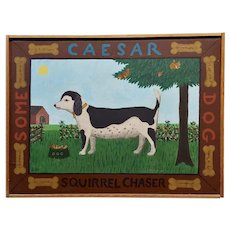 Barbara Chipman Moment -Caesar the Jack Russel Dog  -Naive Oil painting
