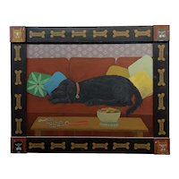Barbara Chipman Moment -Dog Taking a Nap on the Couch -Naive Oil painting