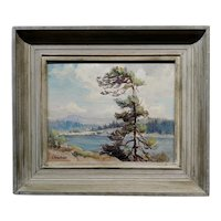 Evylena Nunn Miller -Beautiful Lake Arrowhead -1930s California Impressionist Oil painting