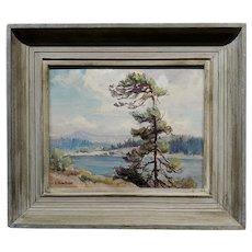 Evylena Nunn Miller -Beautiful Lake Arrowhead -1930s California Impressionist Oil painting