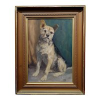 William Gollings -Portrait of a Cute Border Terrier -1905 Oil painting
