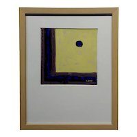 Conrad Buff - Hard Edge in Yellow, Black & Blue -Modernist Oil painting