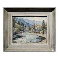 Evylena Nunn Miller -Mckenzie River Landscape in Oregon -1930s Impressionist Oil painting