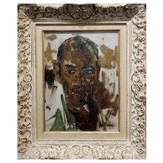 1950s Portrait Study of an elegant Black Man - Oil painting on canvas