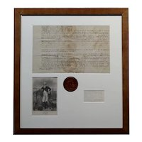 18th century George Clinton important Signed document w/Seal of the State of New York