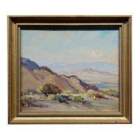 Evylena Nunn Miller -Across the Valley ,1930s California landscape- Oil painting