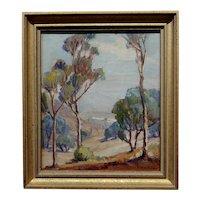 Evylena Nunn Miller -1930s California Trees -impressionist landscape- Oil painting