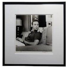 Marlon Brando & his White Cat 1954 signed Photograph by Murray Garrett