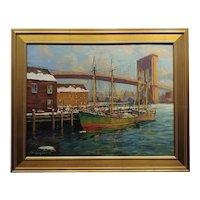 "C. Hjalmar ""Cappy"" Amundsen-Boats Under The Brooklyn Bridge-Oil painting"