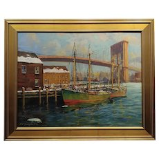"C. Hjalmar ""Cappy"" Amundsen-Boats Under The Brooklyn Bridge-Oil painting"