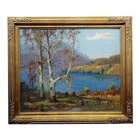 Ferdinand Kaufmann -Sherwood Lake in Ventura County- 1939 Oil painting