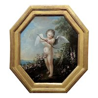 Cupid w/ Bow and Arrow -18th century French Oil painting