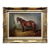 William Woodhouse -19th century portrait of a Horse in a stall -Oil painting