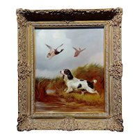 Colin Graeme Roe -Springer Spaniel Flashing a Pair of Mallards-19th century Oil painting