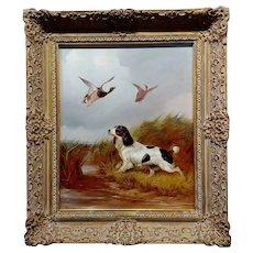 Colin Graeme Roe -Springer Spaniel Flashing a Pair of Mallards-19th century Oil painting