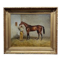 B. Thomas -Young man taking care of a Race Horse in Stable -Oil painting c1930s