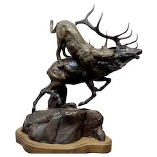 Lorenzo Ghiglieri -Mountain Lion attaching an Elk -Bronze Sculpture