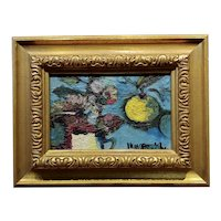 Still life of Fruit & Flowers 1920s expressionist Oil painting
