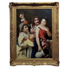Giuseppe Galli -Two Men seducing a Mistress w/Red Wine-19th c. Oil painting