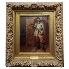 Albert F. Schroder -Portrait of German Cavalier w/Sword-19th century Oil painting