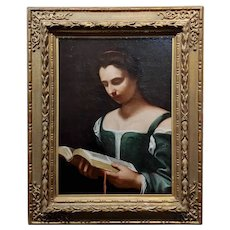 Portrait of a Woman reading a Manuscript -18th century oil painting