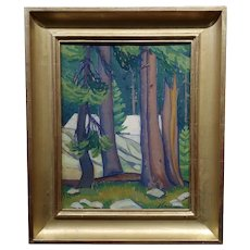 Edith Anne Hamlin -1930s Taos Wooded Landscape -Oil painting