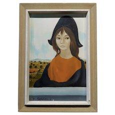 Jean-Pierre Serrier -Portrait of a Modern Mona Lisa -1960s Surrealist Oil painting