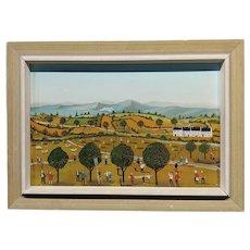 Jean-Pierre Serrier -Industrious Farm Landscape -1960s Surrealist Oil painting